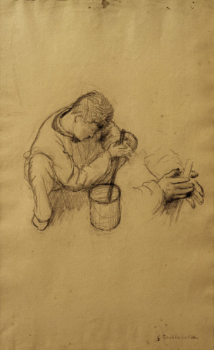 G.Caillebotte, Maler ruehrt Farbe an -  - G. Caillebotte / 'Etude pour les peintre
