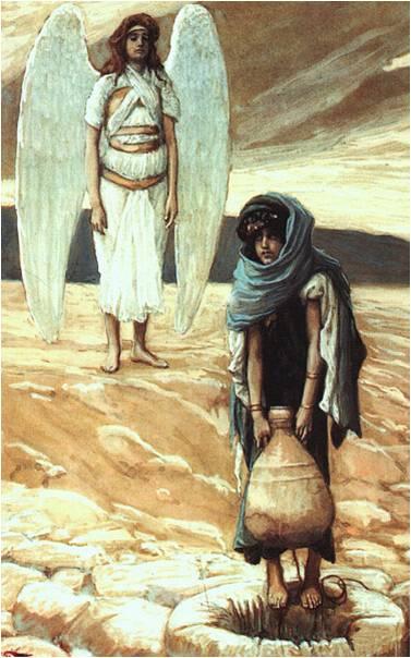Tissot Agar et l'ange dans le désert
