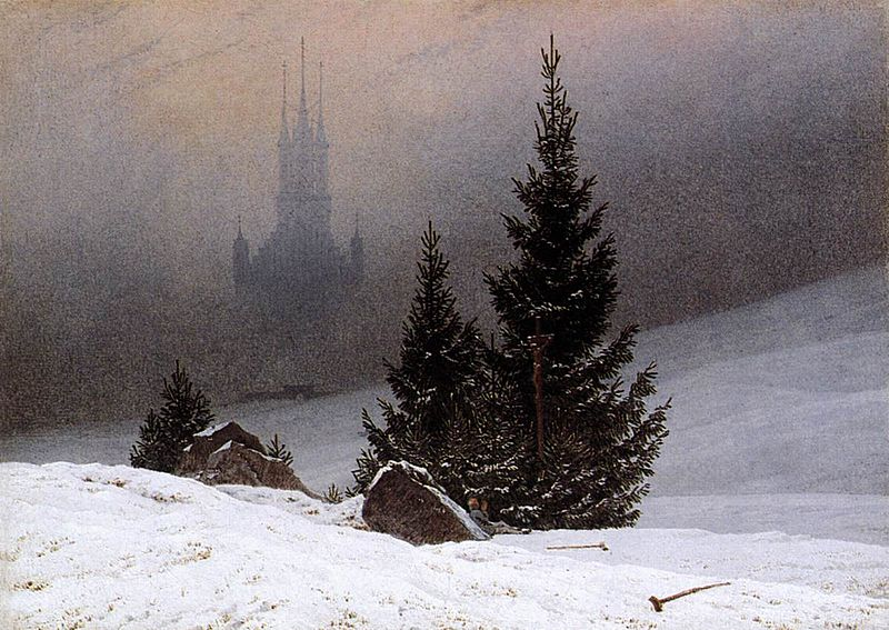 Caspar David Friedrich paysage neige église