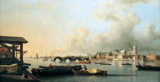 La construction du pont de Westminster Samuel Scott
