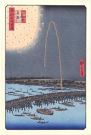Feu d'artifice au pont Ryogoku Hiroshige