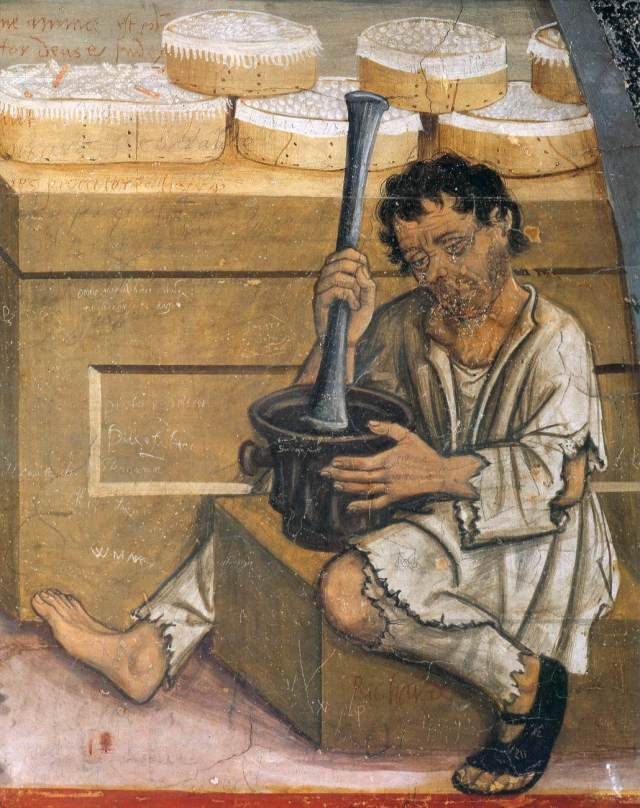 Scene of pharmacy,1489-1502. Fresco - castello d'Issogne, Val d'Aosta detail man with mortar