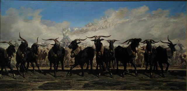 Emile Loubon 1853 Les menons en tete d'un troupeau en Camargue Musee Granet Aix en Provence