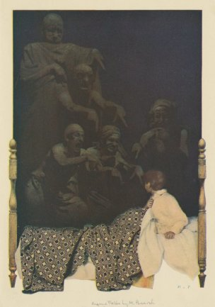 Maxfield Parrish Poems of childhood by Eugene Field, ed Scribner, 1904. I woke up in the dark an saw things standin in a row.s