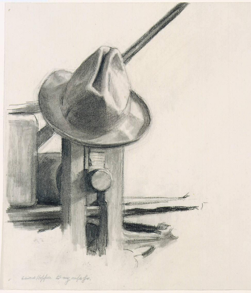 Hopper hat on his etching press
