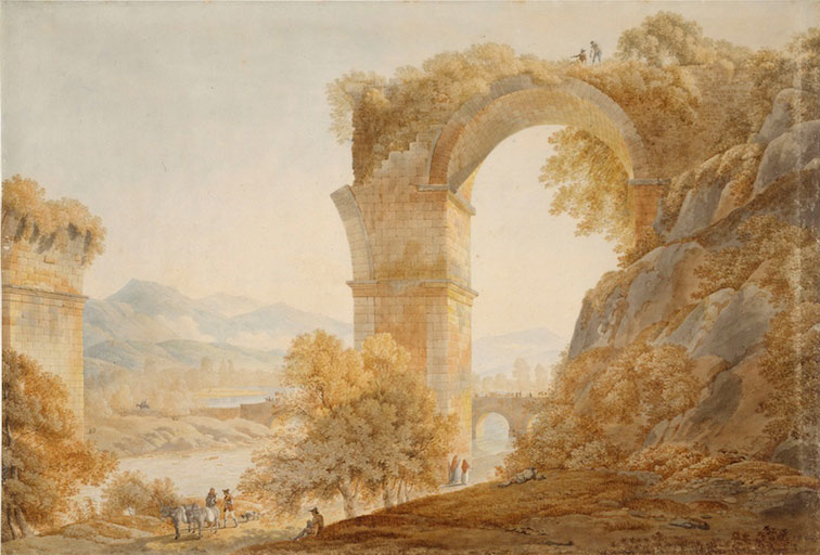 1790-Jean-Thomas Thibault aquarelle Pont de Narni