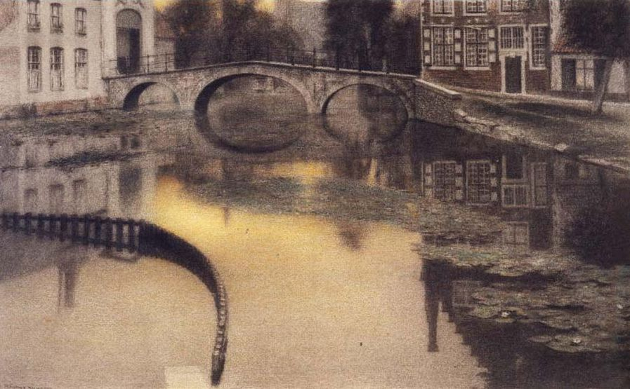 Fernand Khnopff-Memory of BrugesThe Entrance of the Beguinage1904