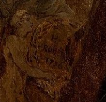 Hubert Robert 1775 _Ruins_with_an_obelisk_in_the_distance_signature