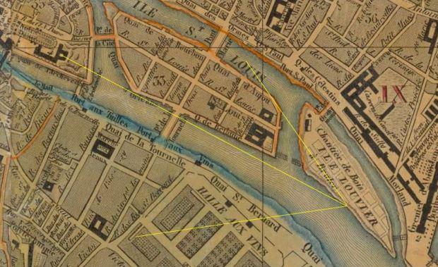 Plan de la ville de Paris dresse par X. Girard, 1820, revu en 1830 detail