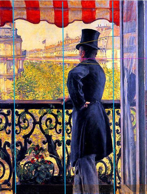 Caillebotte_Homme au balcon, boulevard Haussmann_perspective
