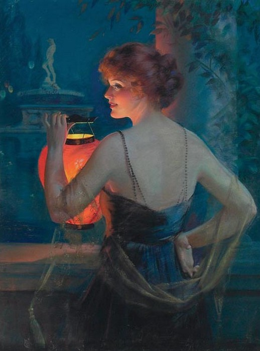 Gene Pressler Young Woman with Lantern 1921