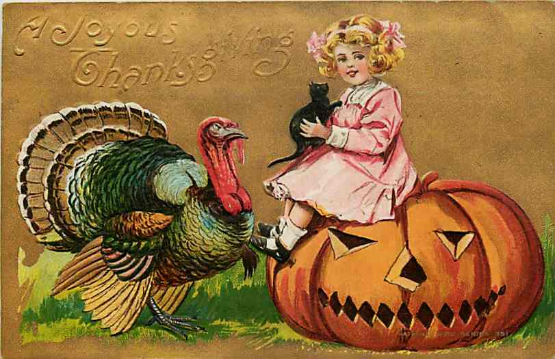 carte postale Thanks giving 1908