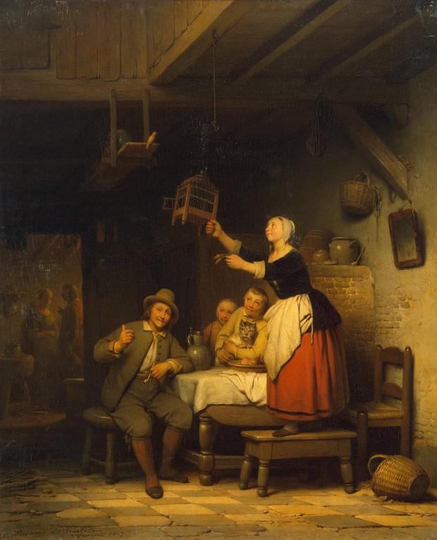 1800s Ferdinand de Braekeleer. (Belgian artist, 1792-1883) The Bird Has Flown
