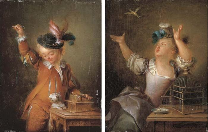 Francois Eisen L apparat trompeur et l oiseau envole 1763
