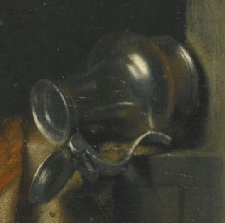 Gerrit Dou - A Young Girl at a Window Ledge with a Cat and Mouse-Trap_detail aiguiere