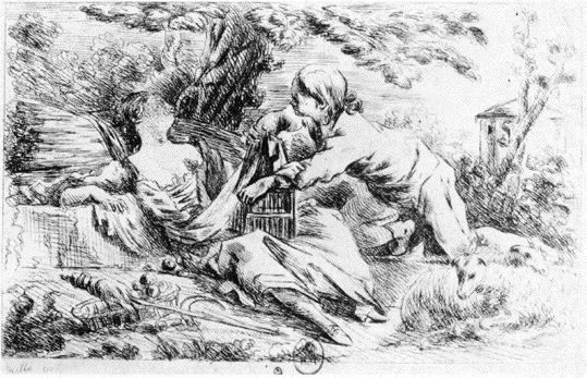 La cage dérobée ou Le voleur adroit - Vivant Denon d'après Hallé 1761 et 1763