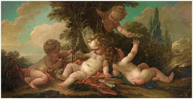 Les petits oiseleurs Francois Boucher ou son atelier Collection part