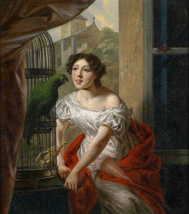 1869 Ange Francois Futterung des Papageis