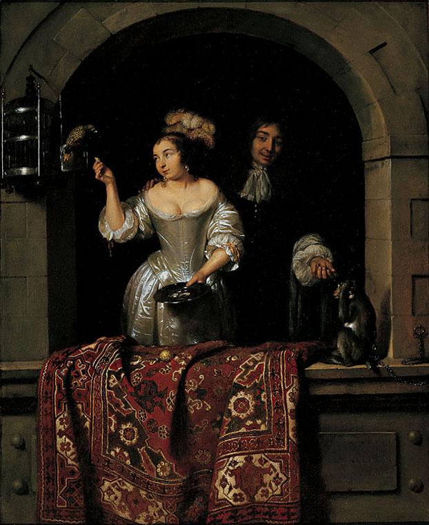 853px-Caspar_Netscher_-_A_Lady_with_a_Parrot_and_a_Gentleman_with_a_Monkey_(1664) Columbus_Museum_of_Art.