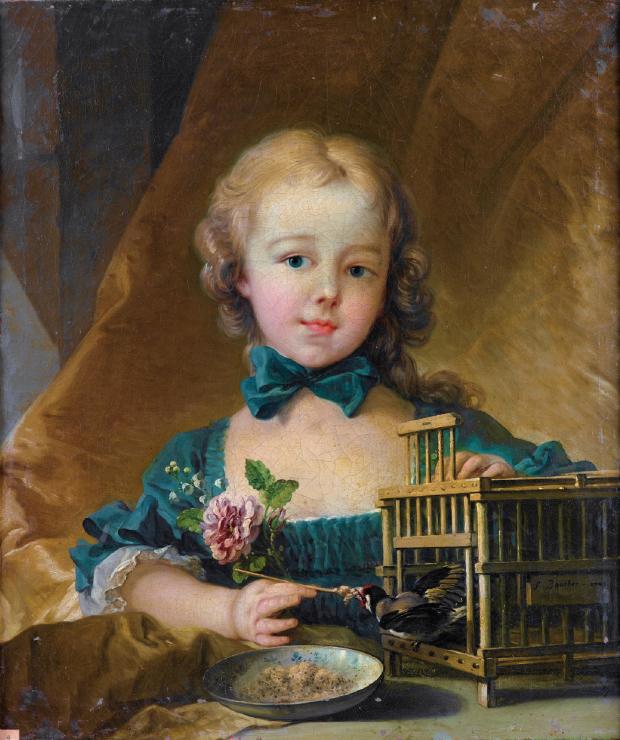 Boucher 1749 Alexandrine_Lenormand_d'Etiolles_with_a_bird