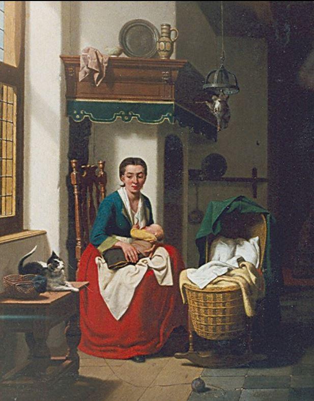 Charles Joseph Grips Feeding the baby 1849