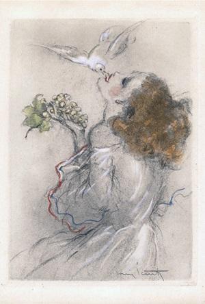 Icart vers 1930 femme avec oiseau et grappe