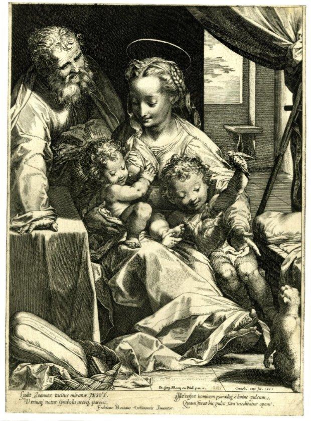 'La Madonna del Gatto 1577 gravure de Cornelis Cort