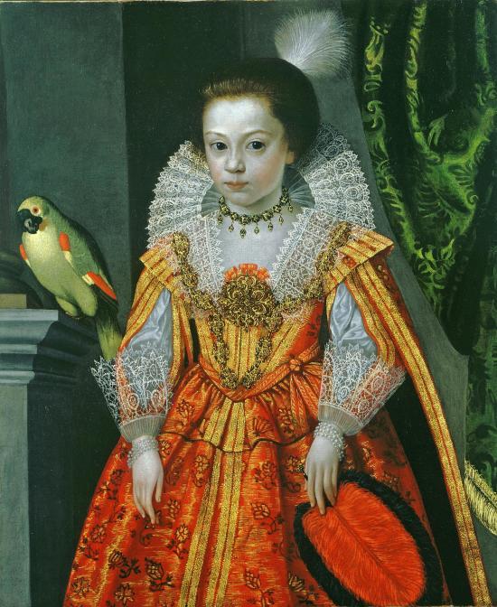 Princesse inconnue avec un perroquet Cercle de Frans Pourbus le Jeune 1620