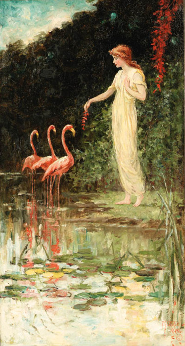 Standing Woman with Three Pink Flamingos, Frederick Stuart Church 1916