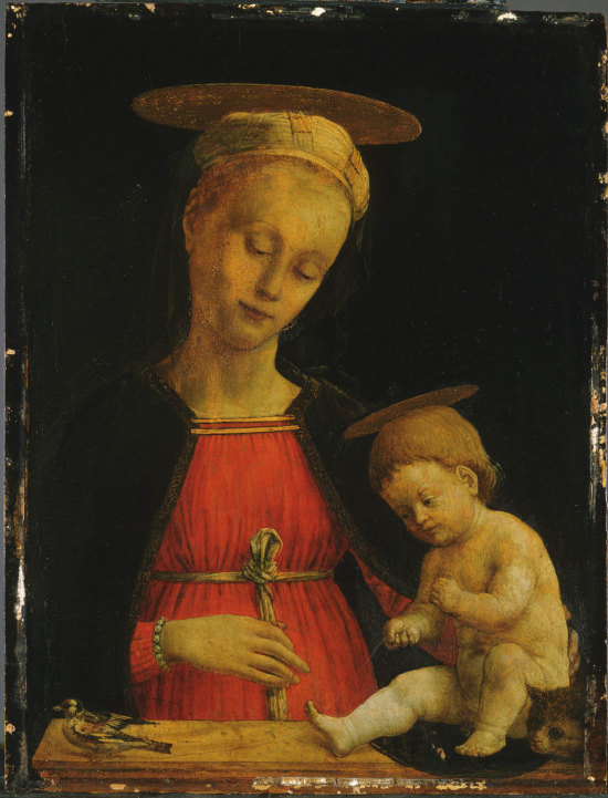 virgin-and-child-with-a-bird-and-a-cat-1475 giovanni-martino-spanzotti Museum of Art, Philadelphia. USA