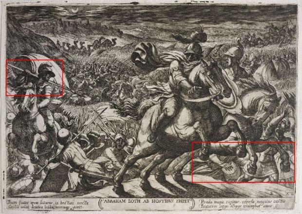 Abraham liberant son neveu Loth, Antonio Tempesta_details