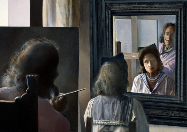 Dali from the back painting Gala from the back eternalized by six virtual corneas provisionally reflected in six real mirrors - 1973 detail