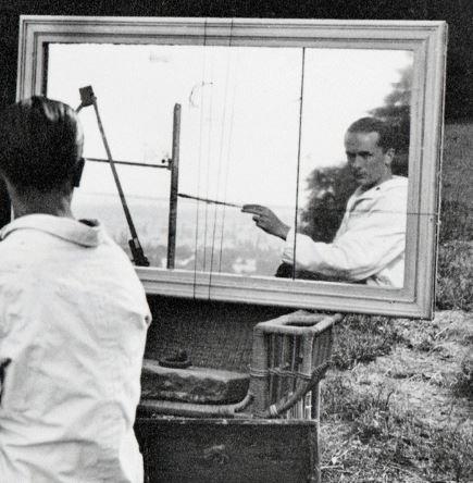 Lartigue Autoportrait au declencheur, Rouzat 1923 detail