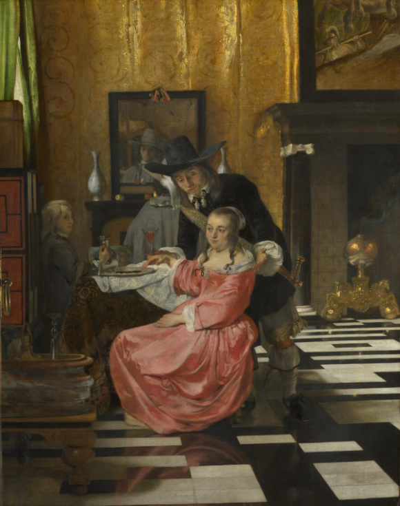 Full title: An Interior, with a Woman refusing a Glass of Wine Artist: Delft Date made: probably 1660-5 Source: http://www.nationalgalleryimages.co.uk/ Contact: picture.library@nationalgallery.co.uk Copyright © The National Gallery, London