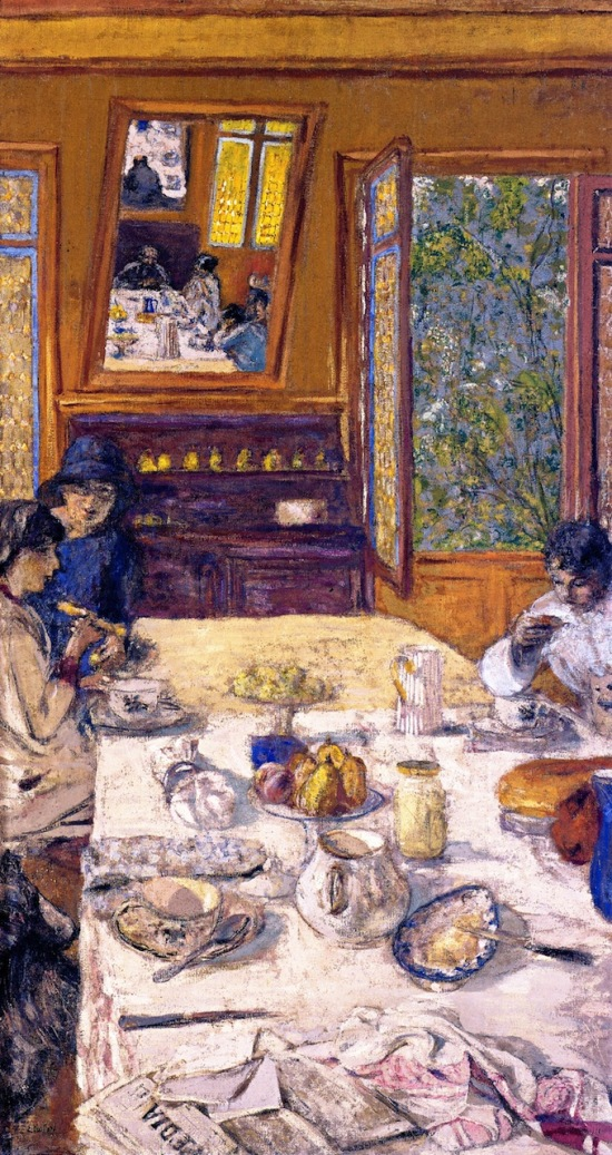 vuillard 1913 Annette Nathanson, Lucy Hessel and Miche Savoir at Breakfast Decoration pour Bois-Lurette. A la Divette. Cabourg