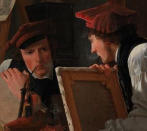 874px-Wilhelm_Bendz_-_A_Young_Artist_(Ditlev_Blunck)_Examining_a_Sketch_in_a_Mirror_-_Google_Art_Project pipe