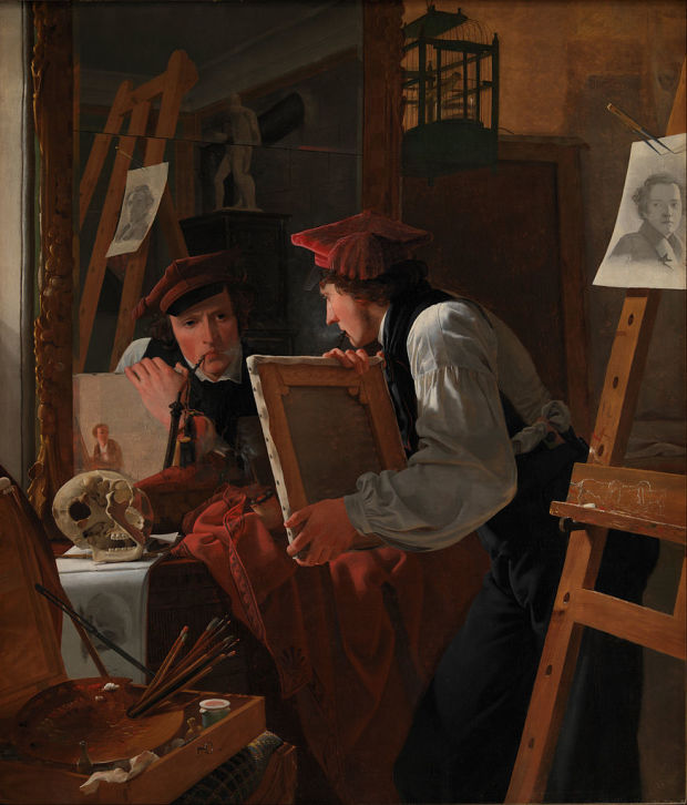 874px-Wilhelm_Bendz_-_A_Young_Artist_(Ditlev_Blunck)_Examining_a_Sketch_in_a_Mirror_-_Google_Art_Project1