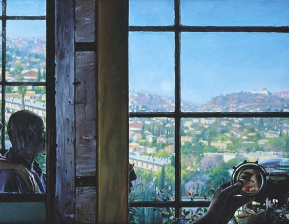 Charles Pfahl a Dawn - Left Panel of Artist and Models