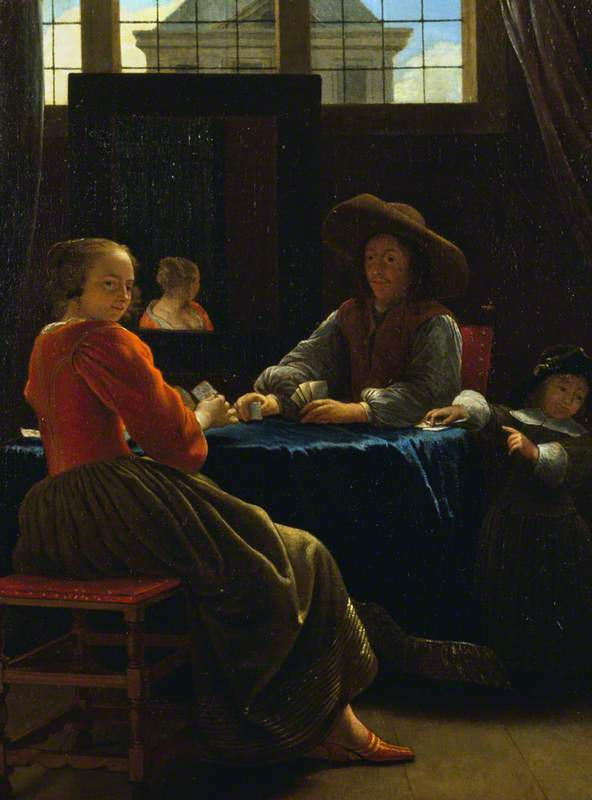 de Man, Cornelis, 1621-1706; A Game of Cards, with the Woman Reflected in a Mirror