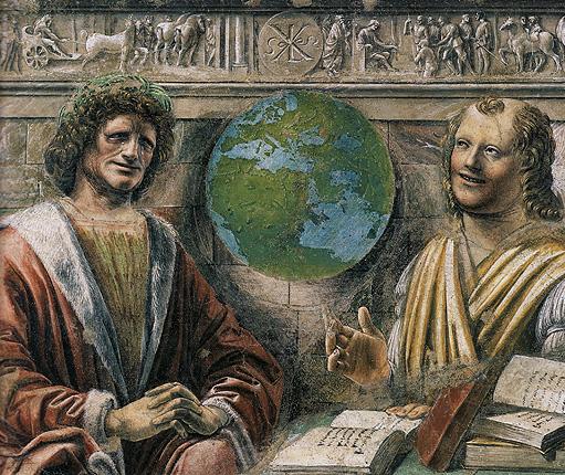 Heraclite et Democrite, vers 1495, Bramante fresque (Milan, Brera)