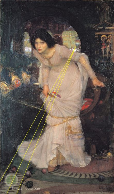 John William Waterhouse The_Lady_of_Shallot_Looking_at_Lancelot 1884 City Art Gallery  Leeds perspective1