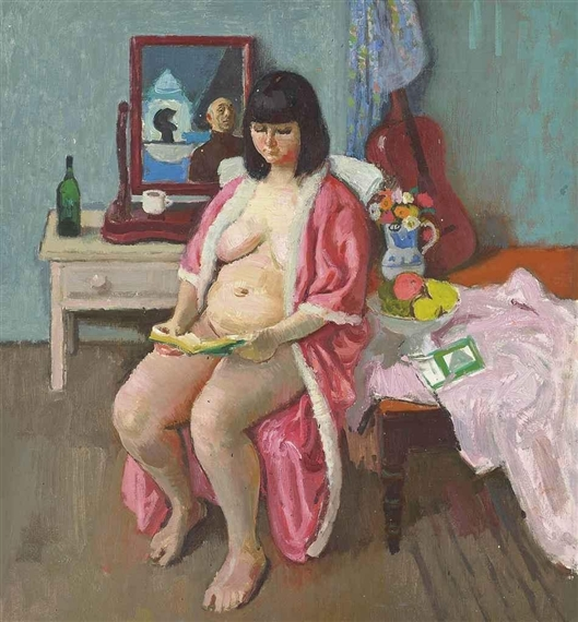 Myself in the studio Belford Mews by Alberto Morrocco