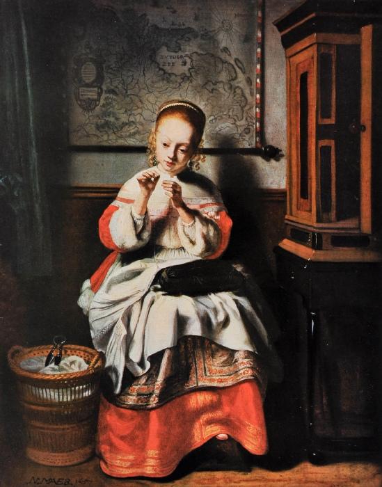 Nicolas Maes Jeune fille cousant 1655 Collection privee