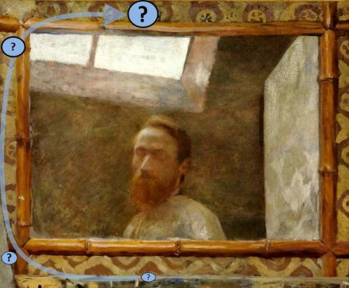 Vuillard , Autoportrait au miroir bambou. 1890 collection privee schema