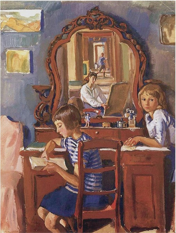 Zinaida Serabriakova  Self Portrait with Children in the Mirror  1917 Private Collection