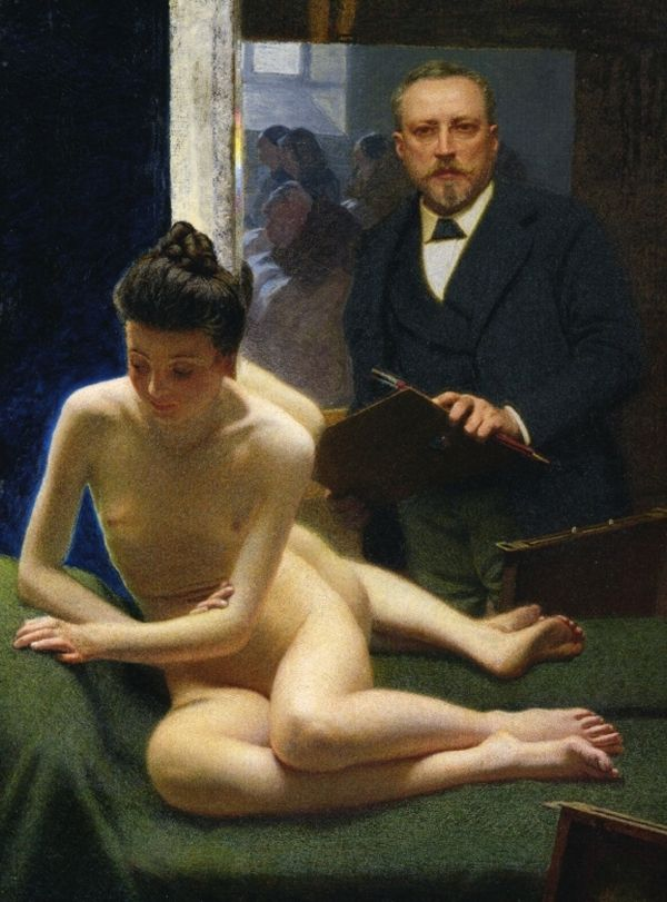 morbelli-the-artist-and-his-model-reflected-in-a-mirror-1900–1903