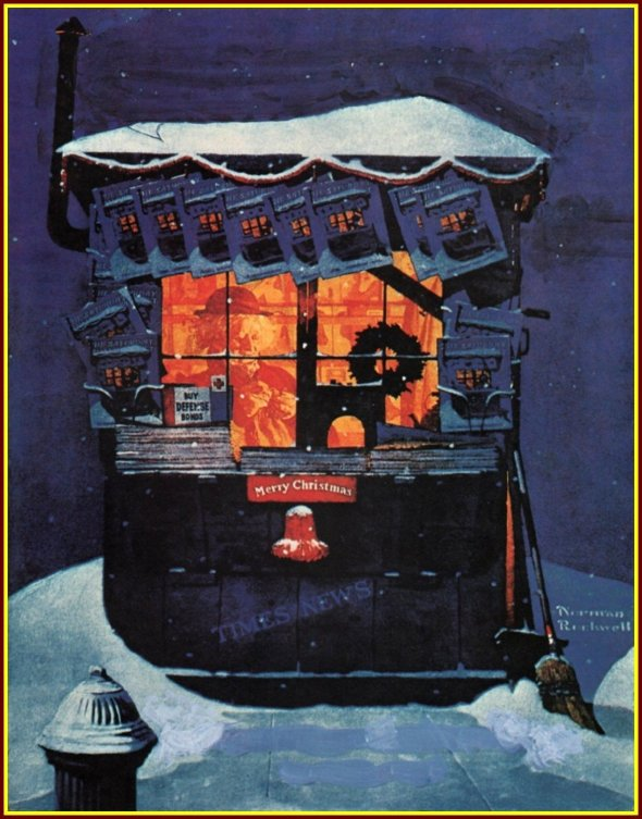 norman-rockwell-newsstand in the snow-saturday-evening-post-cover-december 20-1941