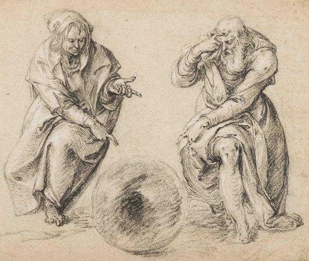 Heraclite et Democrite Gheyn dessin preparatoire