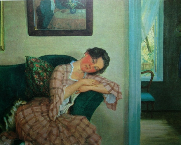 1919 Somov Sleeping young woman in a pink dress