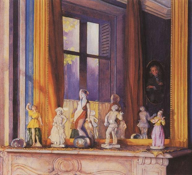1930 Somov porcelain-figurines-on-a-stone-shelf